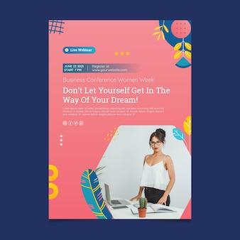 Modèle d'affiche de femme d'affaires rose