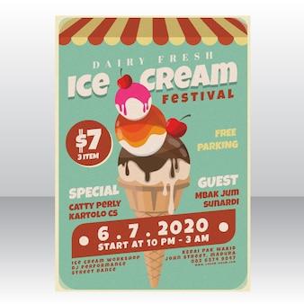 Modèle d'affiche de festival de crème glacée