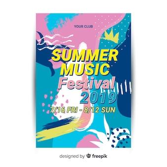 Modèle d'affiche festival dessiné main abstraite