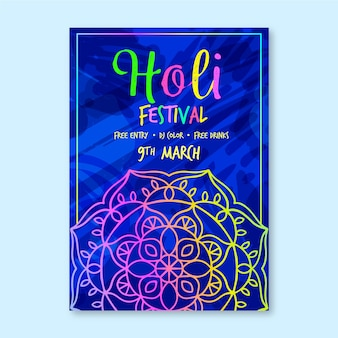 Modèle d'affiche festival holi dessiné à la main
