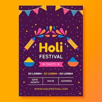 Modèle d'affiche de festival holi dessiné à la main