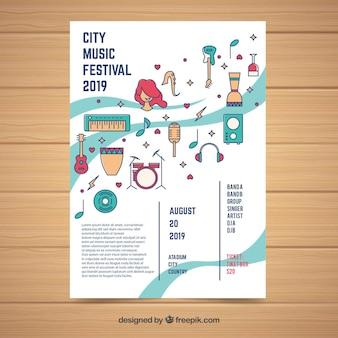 Modèle d'affiche festival avec des instruments de musique