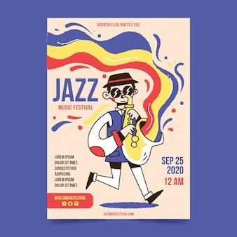Modèle d'affiche de festival de jazz abstrait