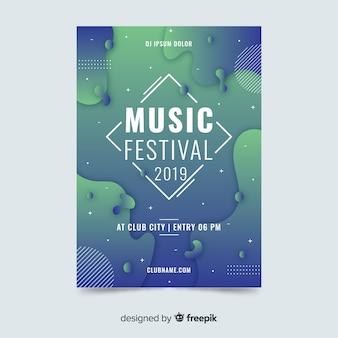 Modèle d'affiche de festival de musique abstrait effet liquide