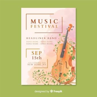 Modèle d'affiche de festival de musique aquarelle