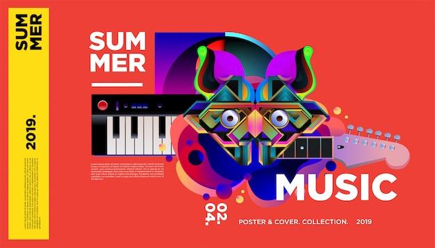 Modèle d'affiche de festival de musique coloré d'été