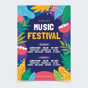 Modèle d'affiche de festival de musique colorée