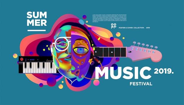 Modèle d'affiche de festival de musique créative et colorée