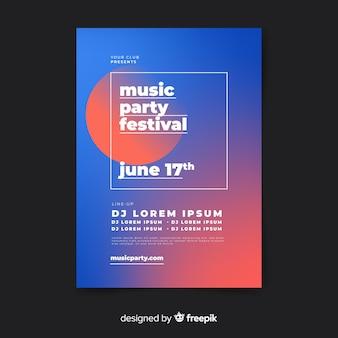 Modèle d'affiche de festival de musique dégradé