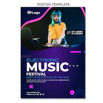 Modèle d'affiche de festival de musique en demi-teinte dégradé