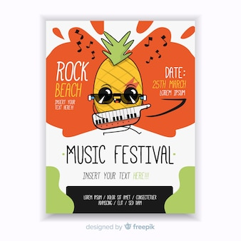 Modèle d'affiche de festival de musique dessiné à la main