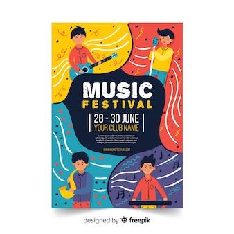 Modèle d'affiche de festival de musique dessinés à la main