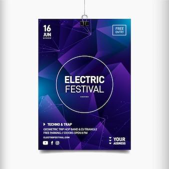 Modèle d'affiche de festival de musique électrique