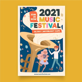 Modèle d'affiche de festival de musique illustré
