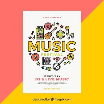 Modèle d'affiche de festival de musique avec des instruments de musique