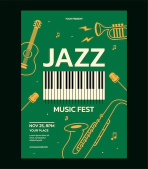 Modèle d'affiche de festival de musique jazz saxophone guitare microphone piano trompette vecteur