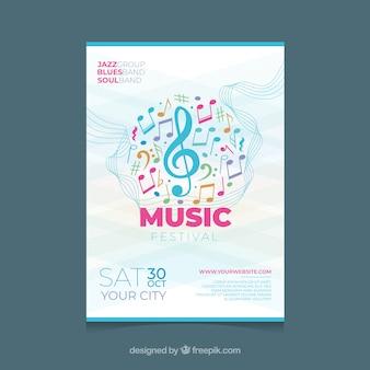 Modèle d'affiche de festival de musique avec des notes colorées