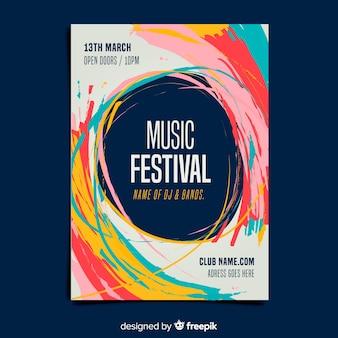 Modèle d'affiche de festival de musique de peinture