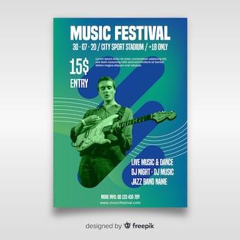 Modèle d'affiche de festival de musique avec photo