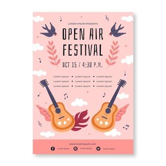 Modèle d'affiche de festival de musique en plein air