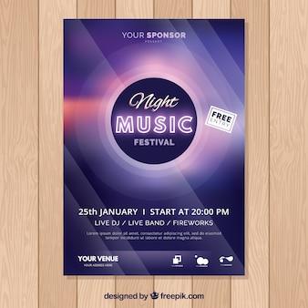Modèle d'affiche festival de musique pourpre brillant
