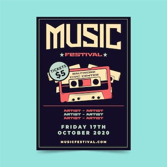 Modèle d'affiche de festival de musique rétro