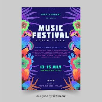 Modèle d'affiche de festival de musique tropicale dessiné à la main