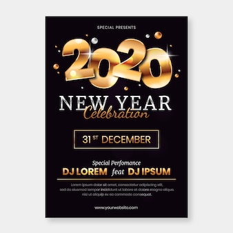 Modèle d'affiche de fête abstrait nouvel an