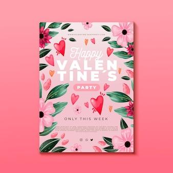 Modèle d'affiche de fête aquarelle saint valentin