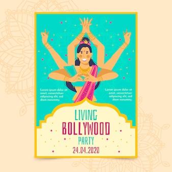 Modèle d'affiche de fête de bollywood avec danseur