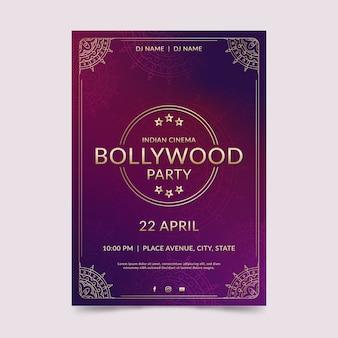 Modèle d'affiche de fête de bollywood avec des ornements