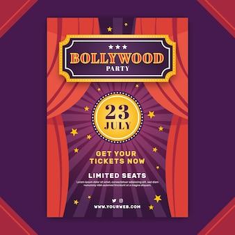 Modèle d'affiche de fête de bollywood avec rideau de scène