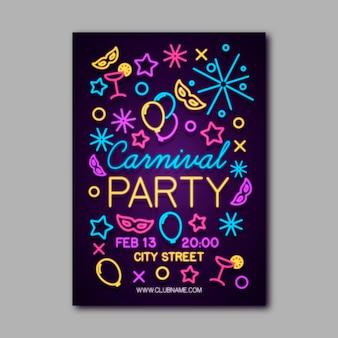 Modèle d'affiche de fête de carnaval au néon