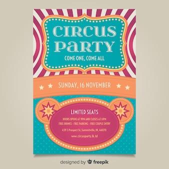 Modèle d'affiche de fête de cirque vintage