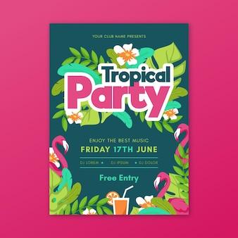 Modèle d'affiche de fête de conception tropicale