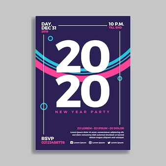 Modèle d'affiche de fête design plat nouvel an 2020