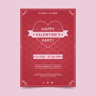 Modèle d'affiche fête design plat saint valentin