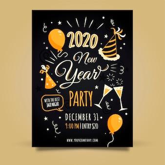 Modèle d'affiche de fête dessiné main nouvel an
