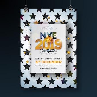 Modèle d'affiche de fête du nouvel an 2019