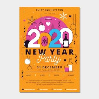 Modèle d'affiche de fête du nouvel an 2020 au design plat