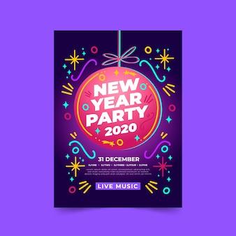 Modèle d'affiche de fête du nouvel an 2020 dessiné à la main