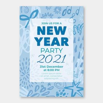 Modèle d'affiche de fête du nouvel an 2021 dessiné à la main