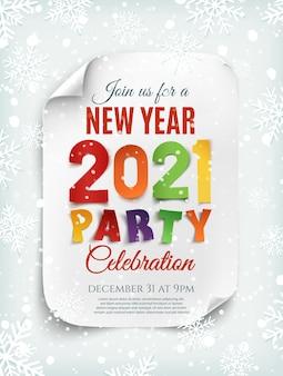 Modèle d'affiche de fête du nouvel an 2021 avec neige et flocons de neige.