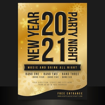 Modèle d'affiche de fête du nouvel an 2021