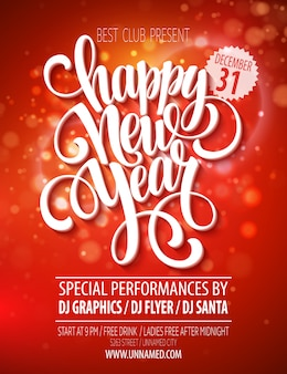 Modèle d'affiche de fête du nouvel an, carte de voeux