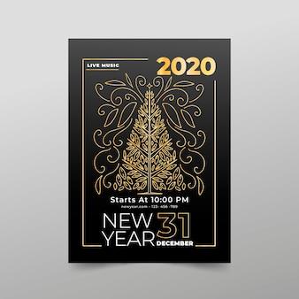 Modèle d'affiche de fête du nouvel an dans le style de contour