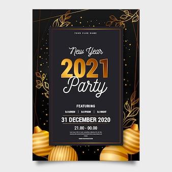 Modèle d'affiche de fête du nouvel an doré 2021