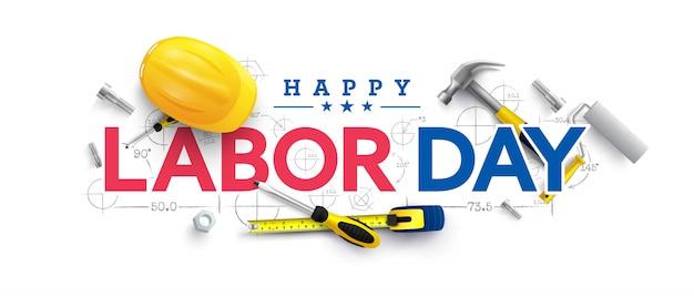 Modèle d'affiche de la fête du travail célébration de la fête du travail des états-unis avec un casque de sécurité jaune