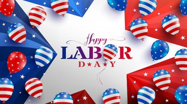 Modèle d'affiche de la fête du travail. célébration de la fête du travail des états-unis avec le drapeau, les étoiles et les outils de ballons américains.