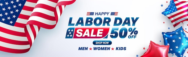Modèle d'affiche de la fête du travail des états-uniscélébration de la fête du travail des états-unis avec le drapeau américain des ballons